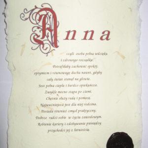 Znaczenie imion na papierze ręcznie czerpanym